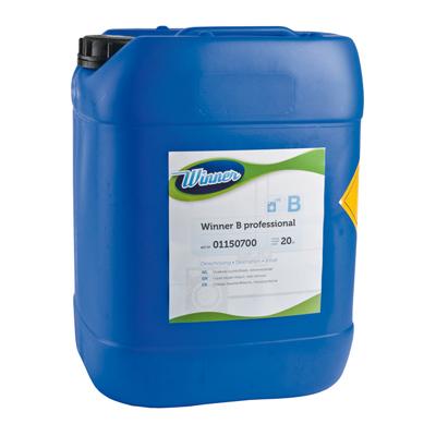 Winner B professioneel bleekmiddel bestaande uit vloeibare zuurstofbleek en vlekverwijderaar.